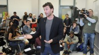 Adult film star and former PCC student James Deen speaks to students at Pasadena City College on Wednesday, Feb. 27, 2013 in Pasadena, Calif. (Keith Birmingham Pasadena Star-News)