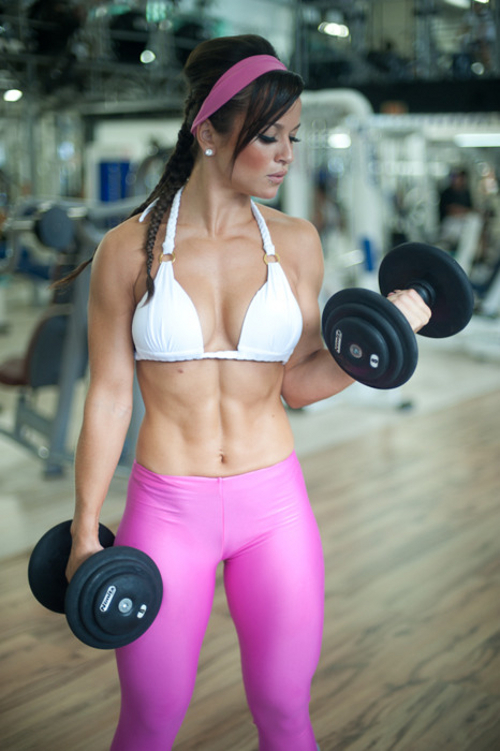 muscles girl spandex