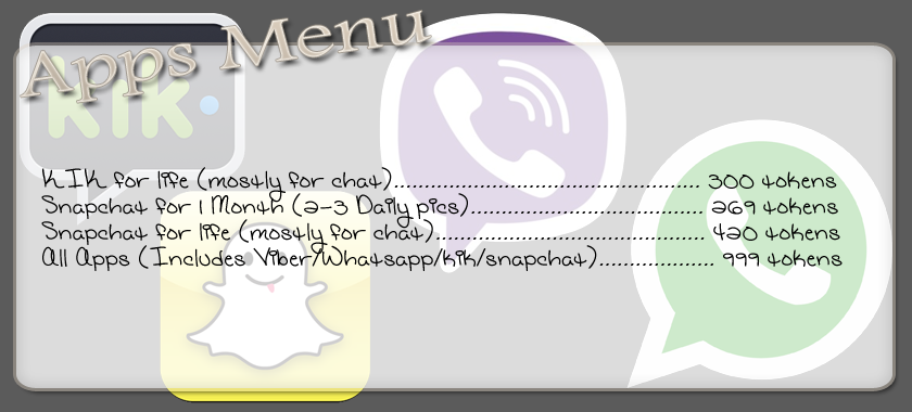 "Le menu ""application"" de la cam girl Mellbell"