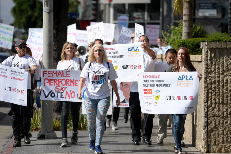 Members of the adult film industry gathered in Hollywood Monday to protest prop 60 which would call for condoms to be used in the industry. ( Photo by David Crane/Los Angeles Daily News )